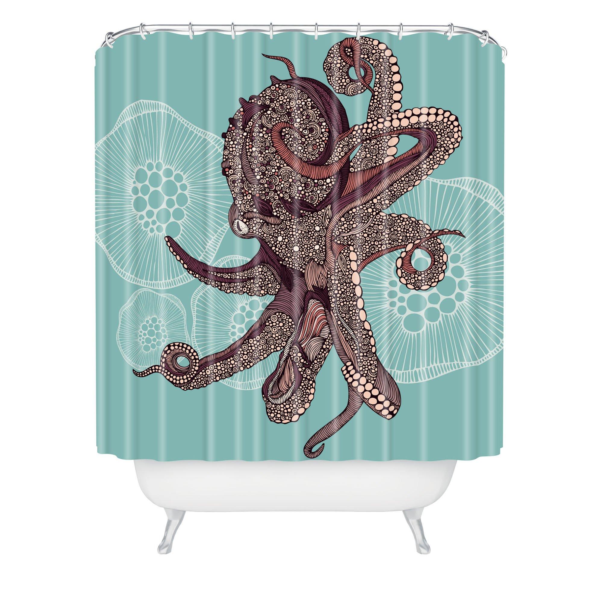 Deny Designs Valentina Ramos Octopus Bloom Shower Curtain Extra Long, 69 x 90