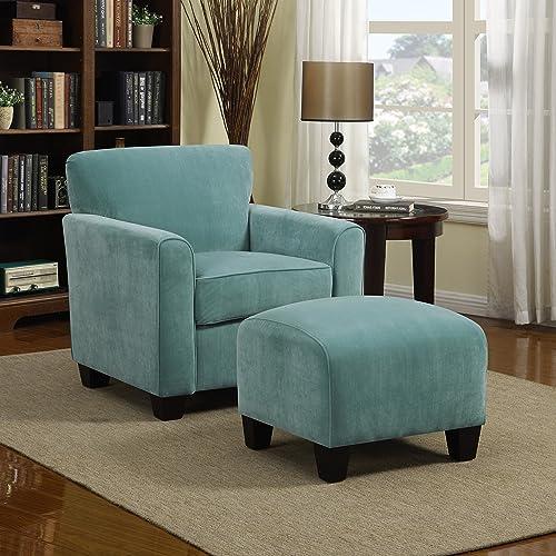 Domesis Littleton – Velvet Living Room Chair and Ottoman, Turquoise