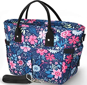 KIPBELIF Insulated Lunch Bags for Women - Large Tote Adult Lunch Box for Women with Shoulder Strap, Side Pockets and Water Bottle Holder, Blue Pink Flower, Extra Large Size