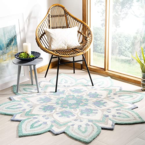 Safavieh Novelty Collection Blue and Ivory Premium Wool Round Area Rug, 5