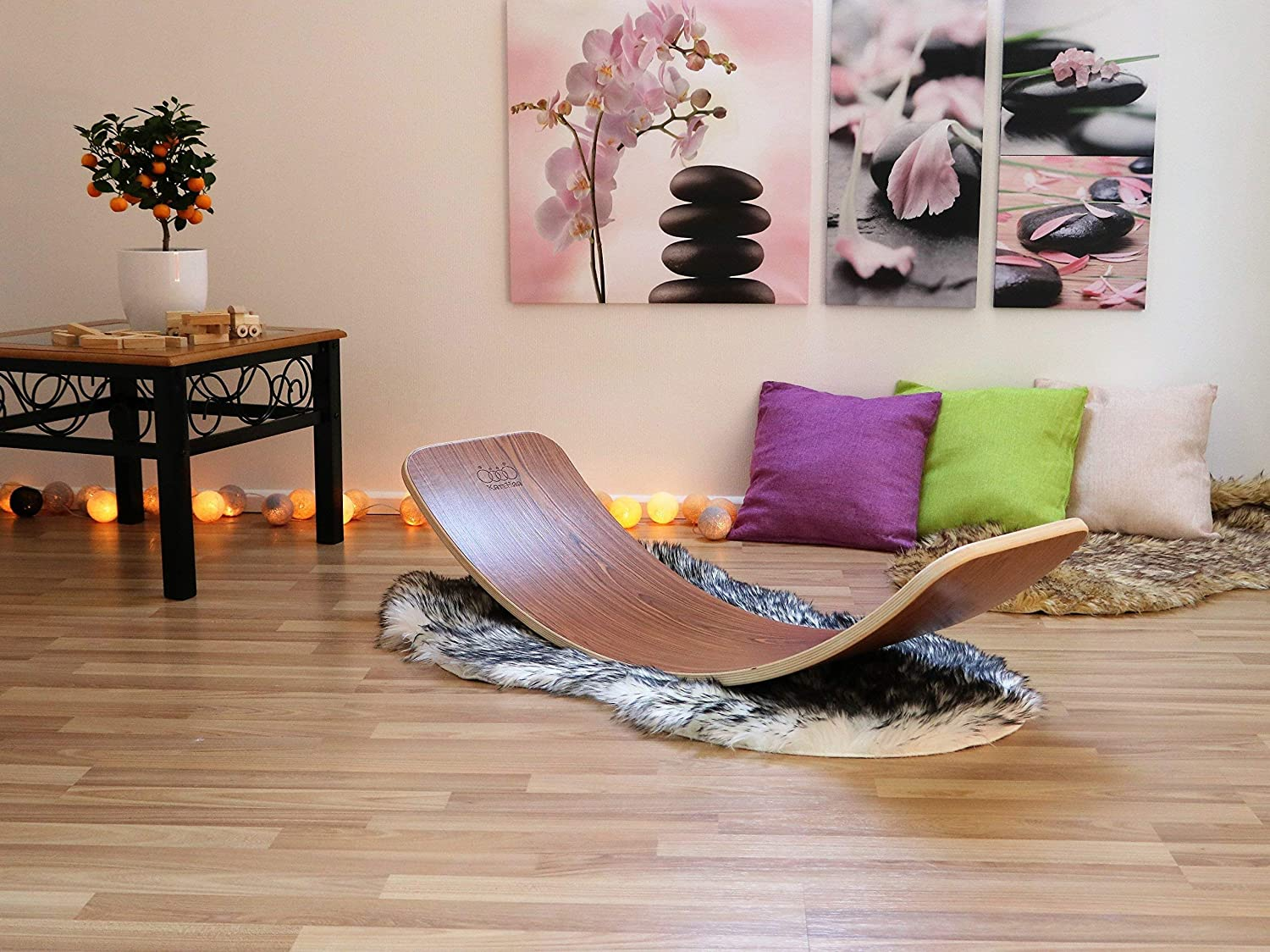 KateHaa Large Wooden Balance Board Rosewood Montessori toy Wooden toy Baby cradle Curvy board Kids toy Wooden board Wooden curvy board