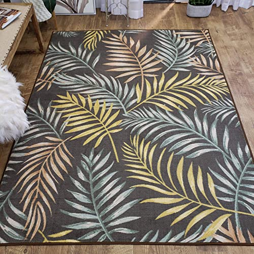 Maxy Home Adaline Coastal Floral Soft Cut Pile Non Slip 5' x 6'6″ New Trend Area Rug