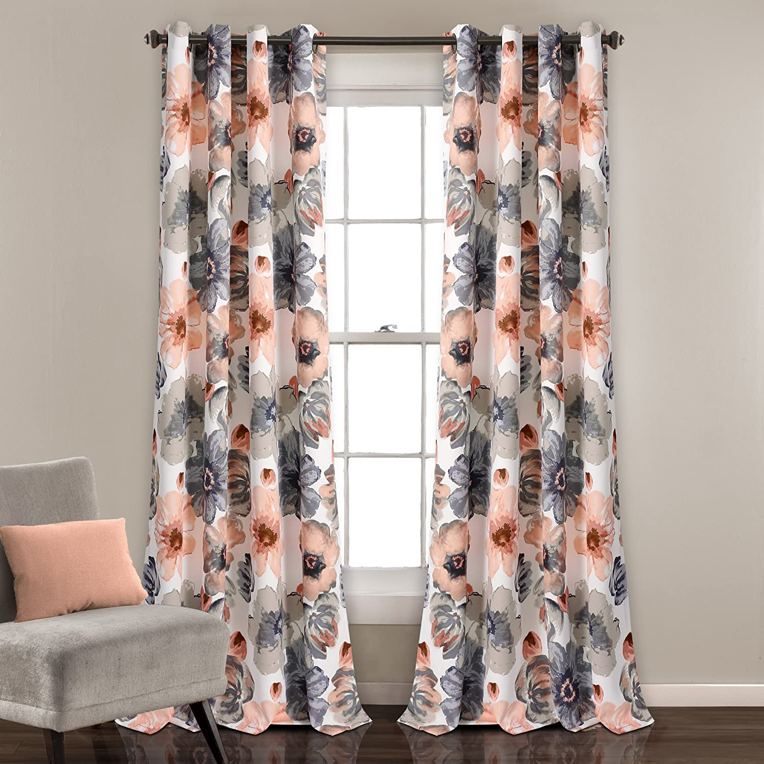 "Lush Decor Leah Floral Darkening Coral and Gray Window Panel Curtain Set for Living, Dining Room, Bedroom (Pair)), 84"" x 52"","