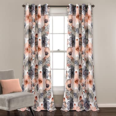 Lush Decor Leah Floral Darkening Coral and Gray Window Panel Curtain Set for Living, Dining Room, Bedroom (Pair), 84  L