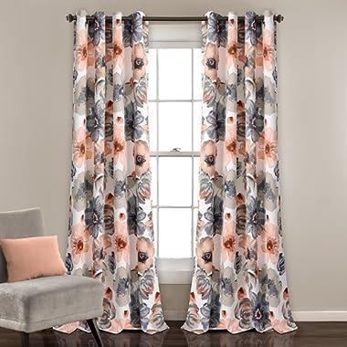 Lush Decor Lush Décor Leah Room Darkening Window Curtain Panel Set, Pair 52 x 84, Coral/Gray