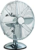 """G4RCE  12"""" CHROME 3 SPEED OSCILLATING FREE-STANDING COOLING DESK TABLE FAN"""