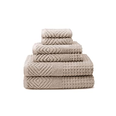 100% Organic Cotton Jacquard 6 Piece Towels - Stylish Gifts by Texere (Tansy, 6-Piece Set, Oxford Tan) from Wife TX-HC263-001-OXTN-R-6
