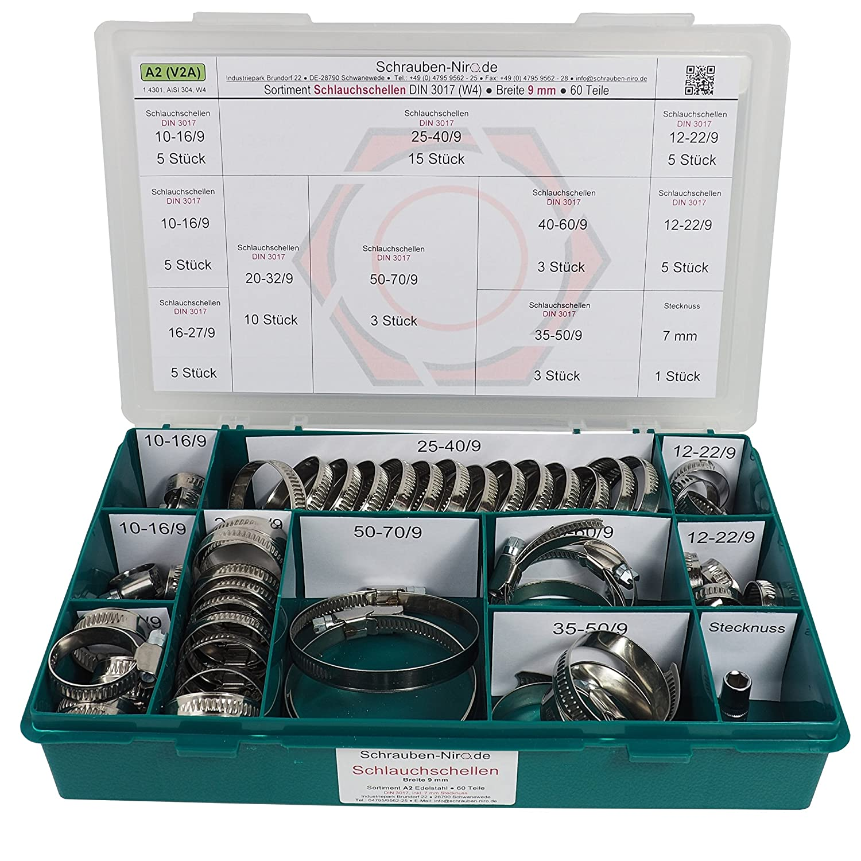 Sortiment A2 Edelstahl Schlauchschellen Material W4 entspricht V2A Bandbreite 9 mm Set mit 60 Teilen inklusive 7 mm Steckschl/üsseleinsatz Spannbereiche von 8 bis 70 mm