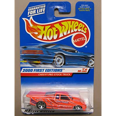 Hot Wheels - 2000 First Editions - Chevy Pro Stock Truck - Neon Orange - Collector #067 - 7/36 - Die Cast - Limited Edition - Collectible 1:64 Scale: Toys & Games
