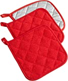 DII 100% Cotton, Machine Washable, Everyday Kitchen Basic  Terry Potholder Set of 3, Red