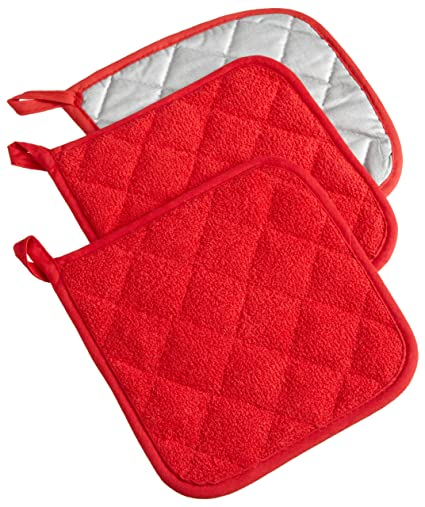 dii cotton terry pot holders 7x7 set of 3 heat resistant machine washable hot - Kitchen Hot Pads