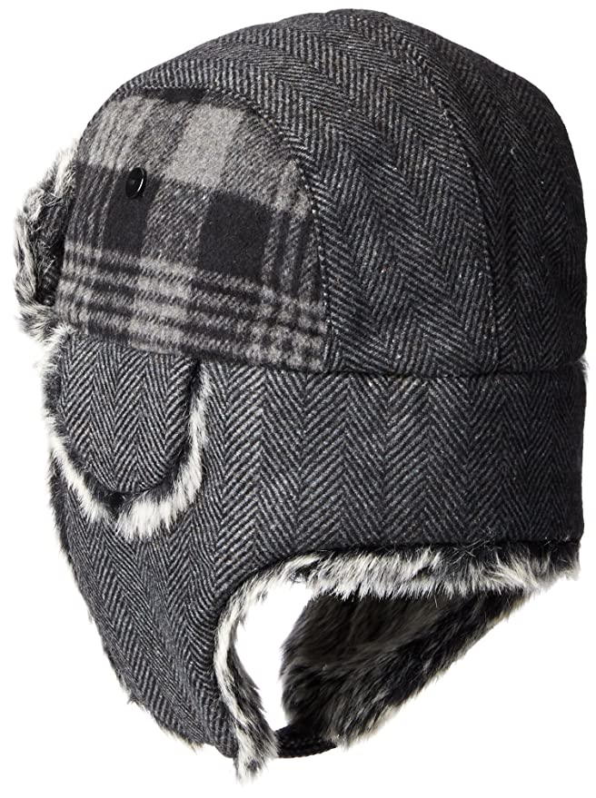 d7192cff09d4 Amazon.com: Dockers Men's Plaid and Herringbone Mixed Media Trapper Cap  with Faux Fur Lining, Charcoal, SMALL/MEDIUM: Clothing