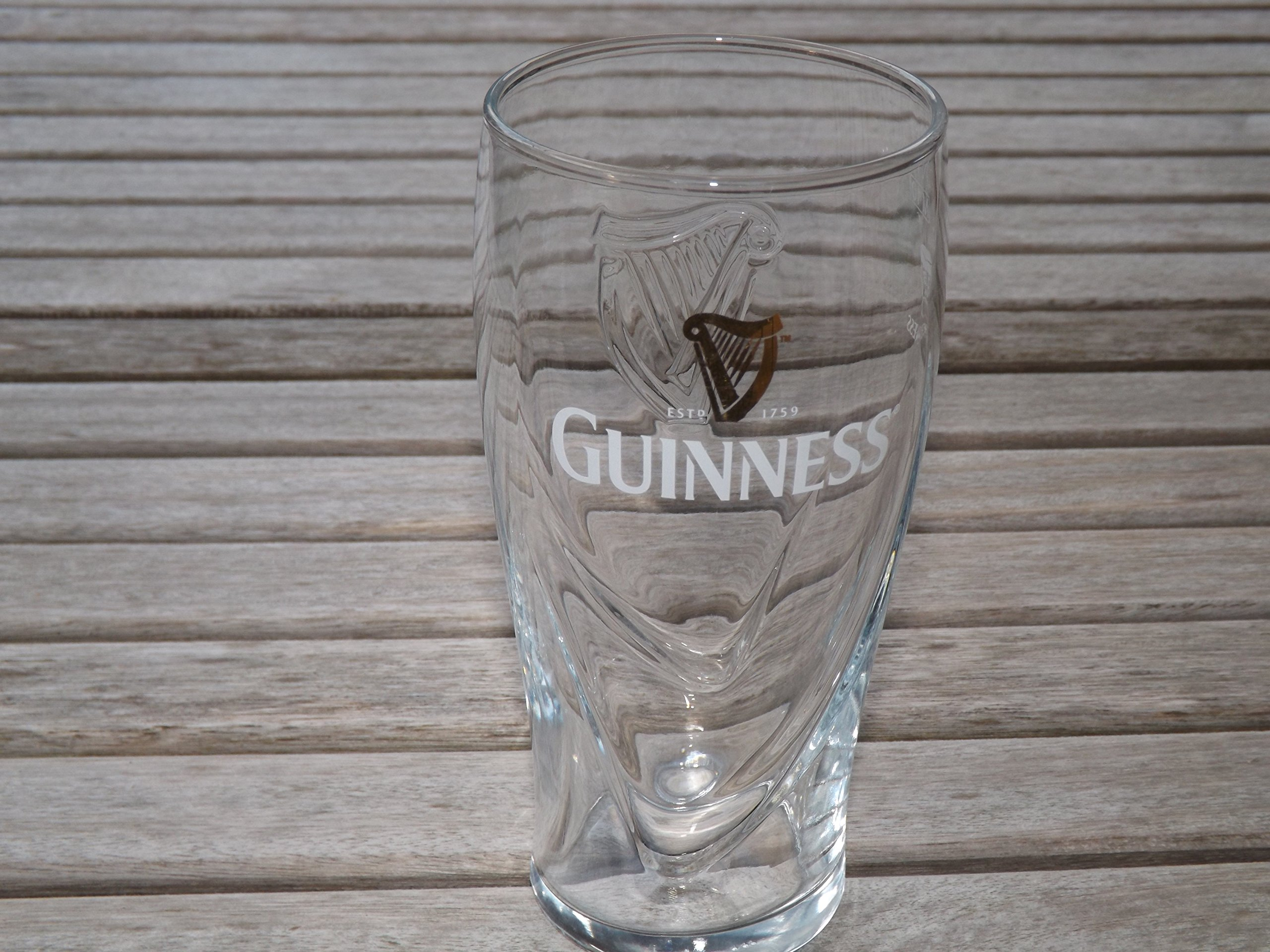 1 X Guinness Logo Pint Glass with Embossed Harp (20oz Official Glass)