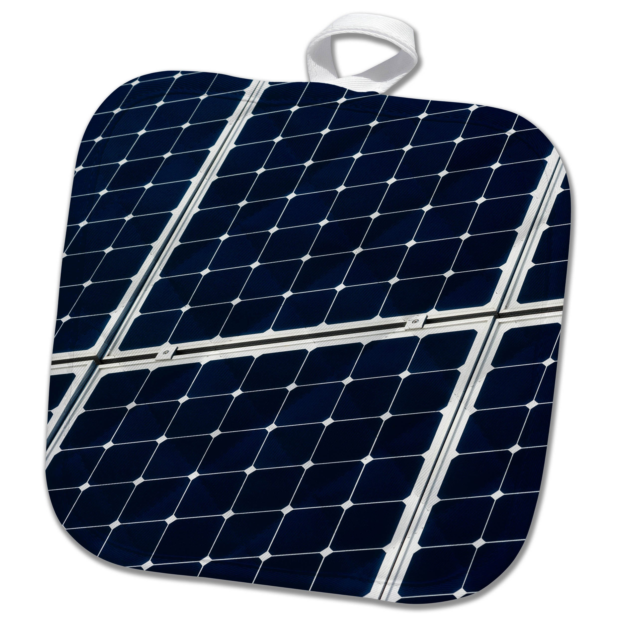 3dRose Alexis Photography - Objects - Dark blue solar power panel, white frame, diagonal view - 8x8 Potholder (phl_271346_1)