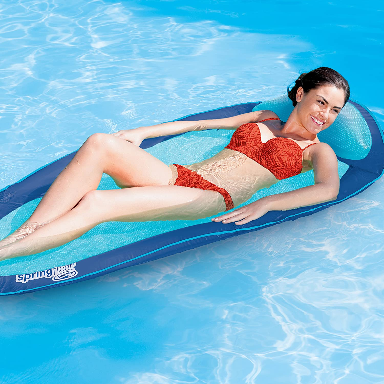 SwimWays Original Spring Float Floating Swim Hammock Lime Green Aqua