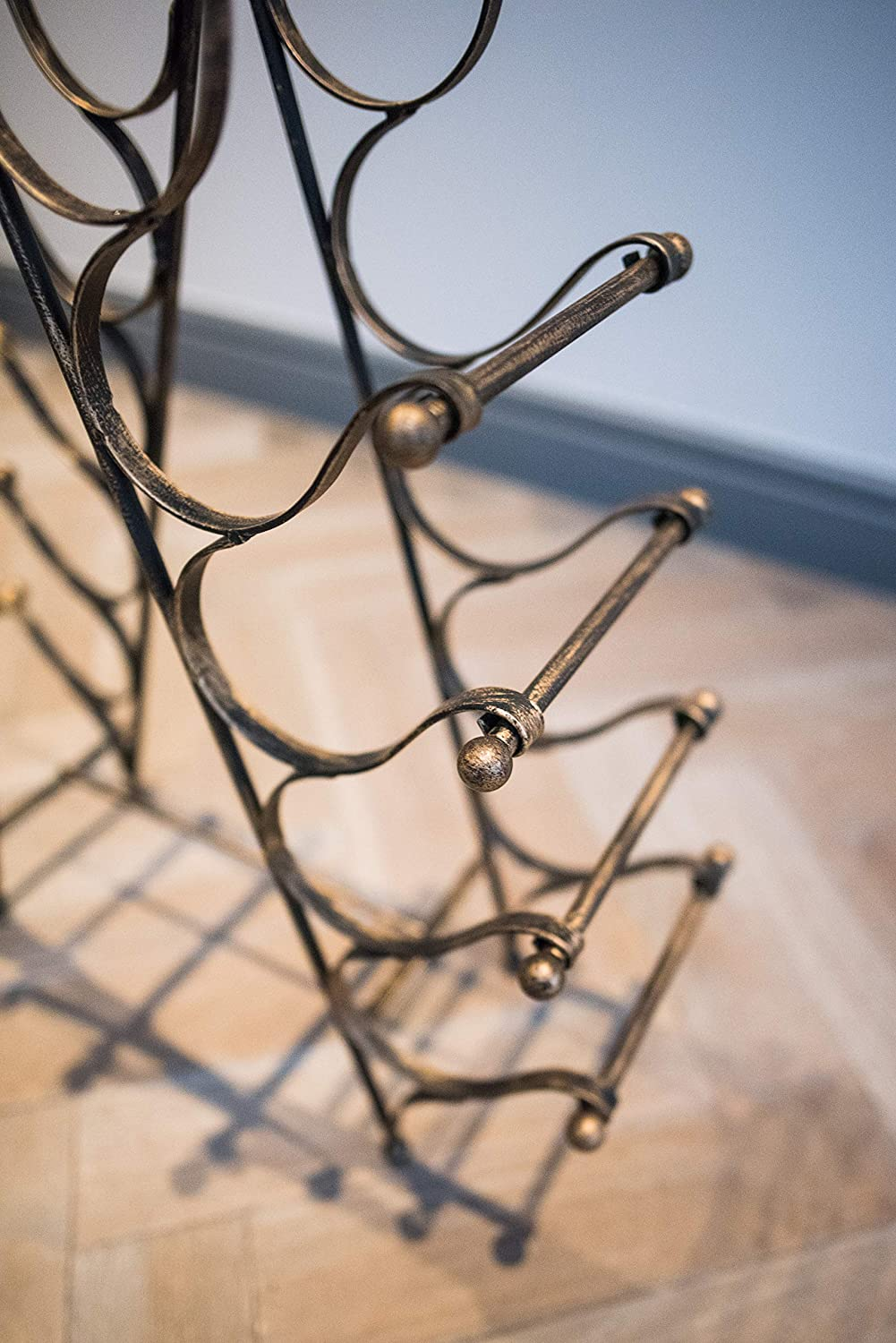 Stylish Storage for 10 Bottles Equestrian Inspired Free Standing Metal Wine Rack