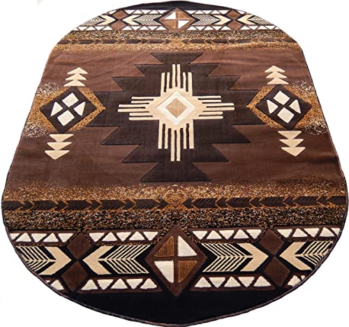 Arizona Southwestern Lodge Oval 5×8 Area Rug Chocolate Brown Actual Size 5 3×7 2