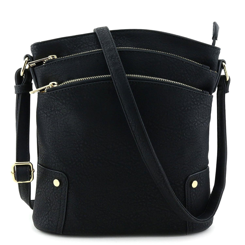 Triple Zip Pocket Large Crossbody Bag Black  Handbags  Amazon.com