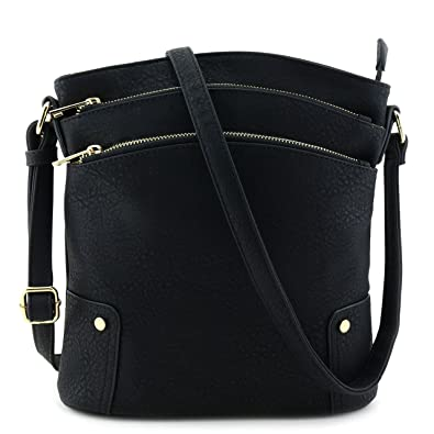 Triple Zip Pocket Large Crossbody Bag Black  Handbags  Amazon.com
