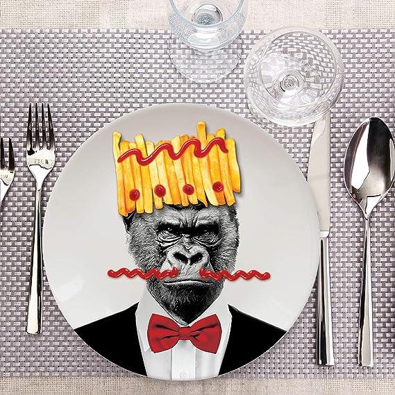 Mustard M12006E Cat Wild Dining, Plato de Cerámica Mostaza, 22.9 x 22.9 x 2.3 Cm: Amazon.es: Hogar