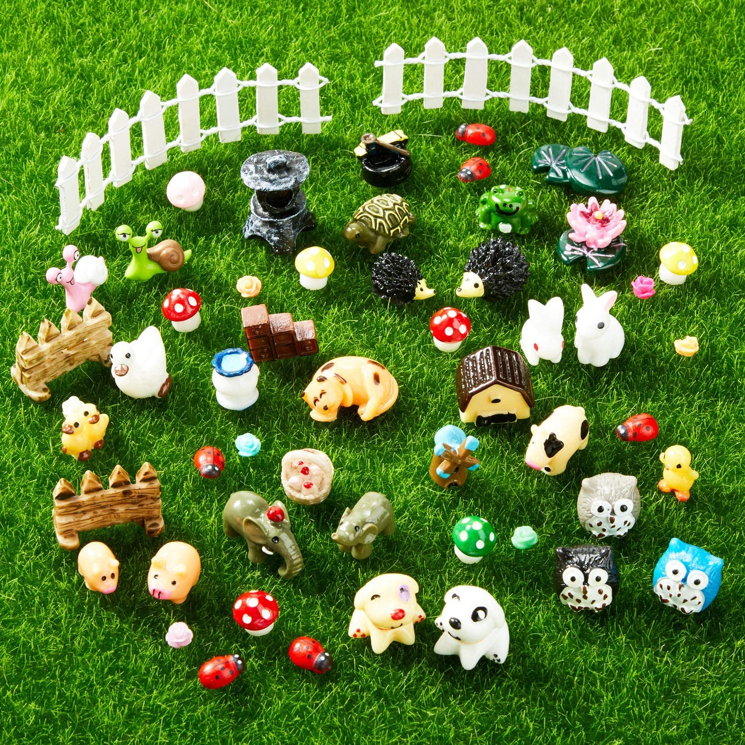 90 Pieces Mini Animals Miniature Ornament Kit Fairy Animal Figurines Garden Animals Miniature Micro Landscape Accessories for DIY Dollhouse Plant Decoration, Snail, Tortoise, Owl, Puppy, Bunny, Duck