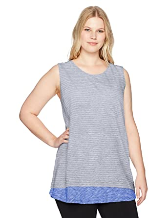 abce281f3c1 Amazon.com  Calvin Klein Performance Women s Plus Size Slub Jersey Criss  Cross V Back Swing Tee  Clothing