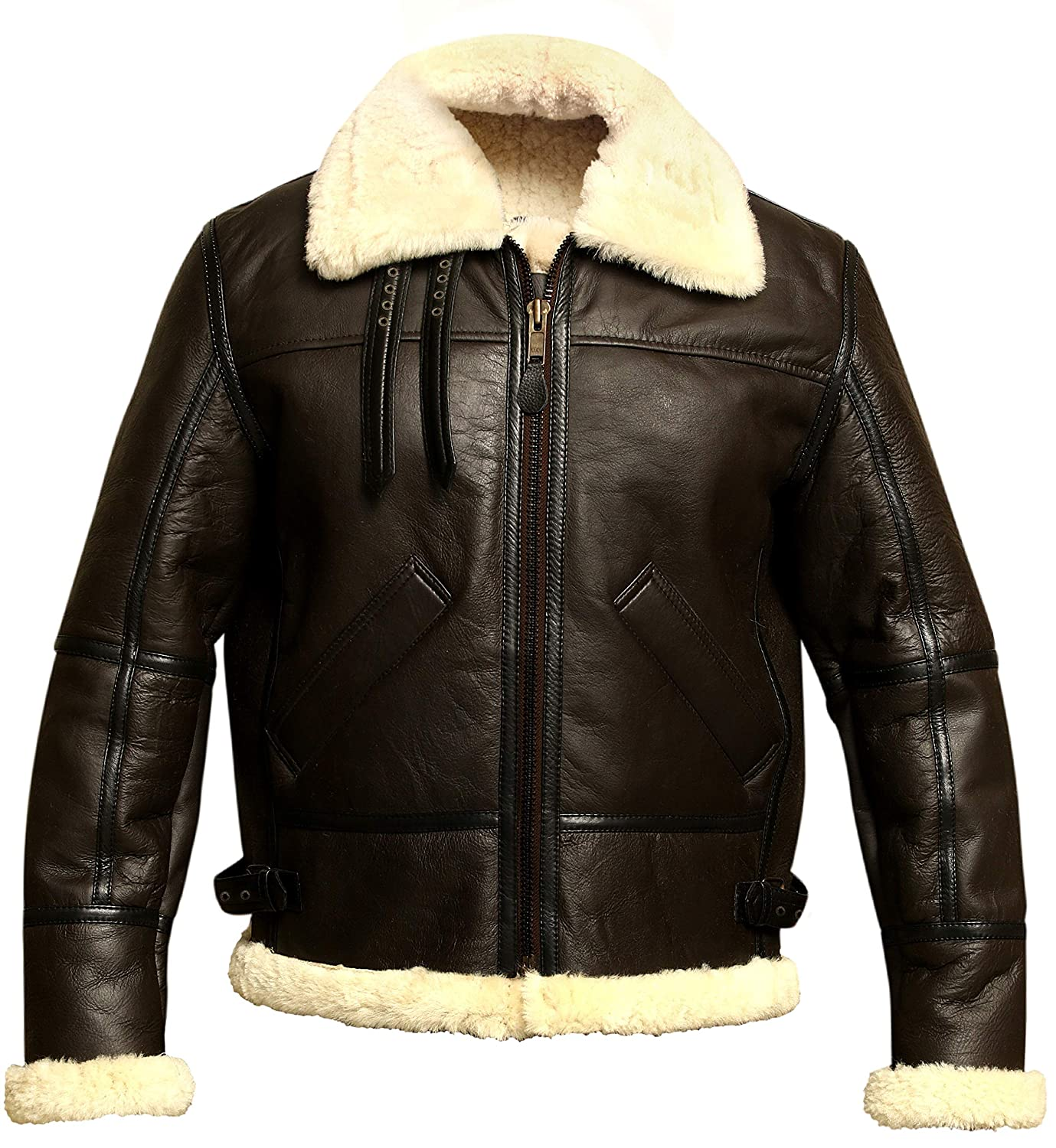 a1a8c2d22 Men B3 Bomber Aviator Shearling Sheepskin Leather Winter Jacket at Amazon  Men's Clothing store: