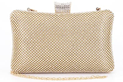 46ee46fb9 Rhinestone Crystal Clutch Purse Large Clutches Women Evening Bags for  Wedding Party Gold