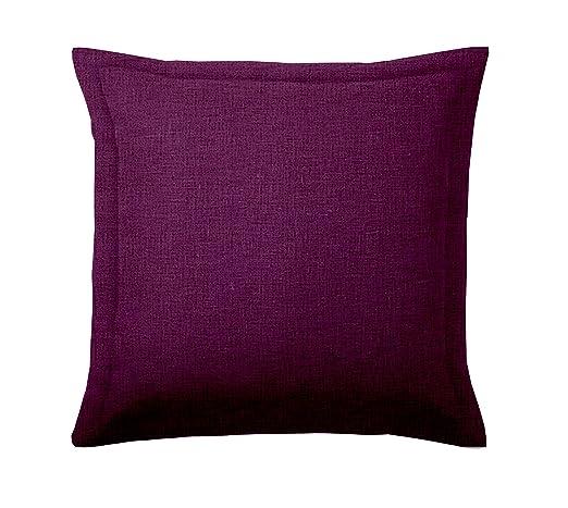 ADP Home - 2 Fundas de Cojín 60x60 +5 CM con Volante y Cremallera (Tejido Loneta) Púrpura