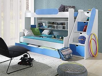 Kinder Stockbett furnistad etagenbett kinder stockbett weiß blau amazon