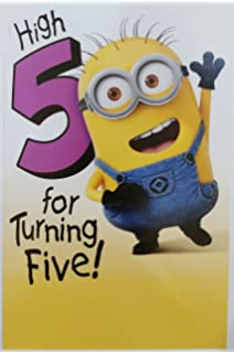Despicable Me Minion Happy 5th Birthday Greeting Card