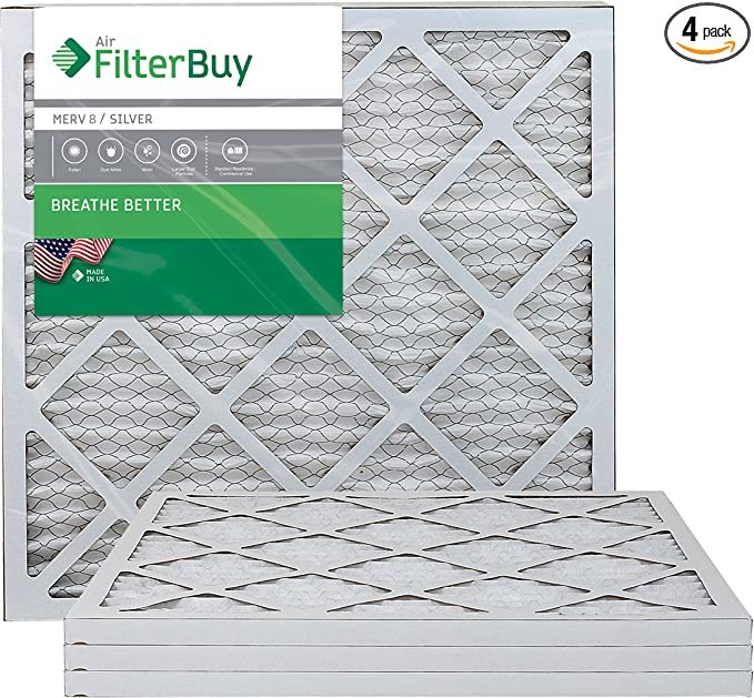 Pack of 4 Filters 24x30x1 FilterBuy 24x30x1 MERV 8 Pleated AC Furnace Air Filter, Silver