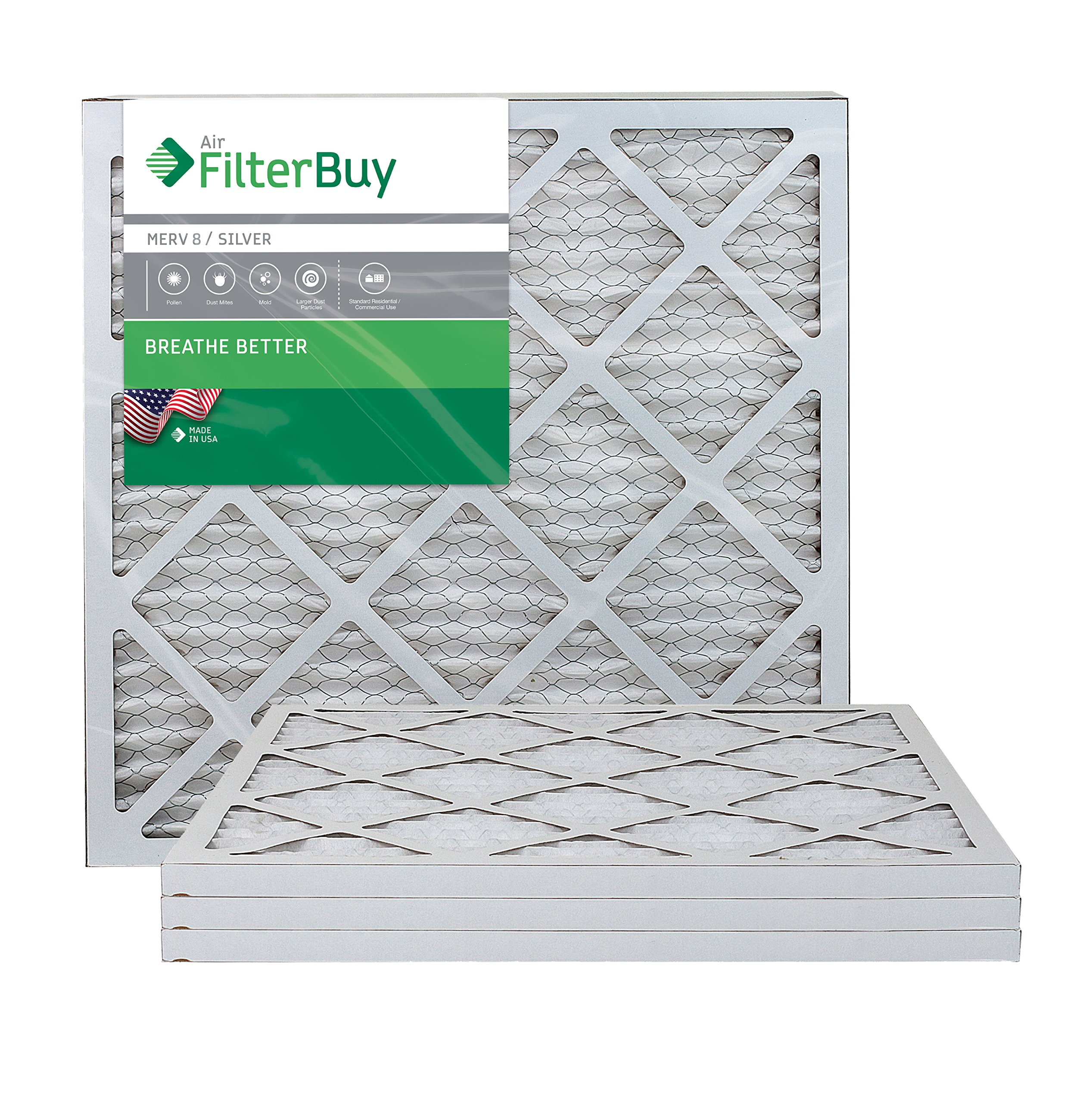 FilterBuy AFB Silver MERV 8 20x20x1 Pleated AC Furnace Air Filter.  Pack of 4 filters. 100% produced in the USA. by FilterBuy