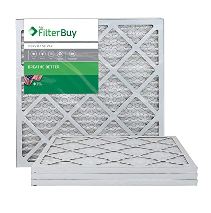 FilterBuy 20x21 5x1 MERV 8 Pleated AC Furnace Air Filter, (Pack of 4  Filters), 20x21 5x1 – Silver