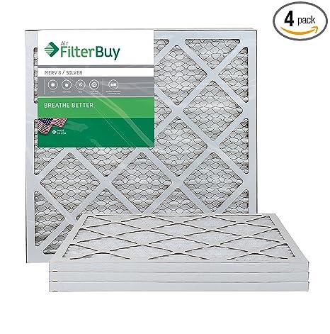 filterbuy afb silver merv 8 20x20x1 pleated ac furnace air filter ...