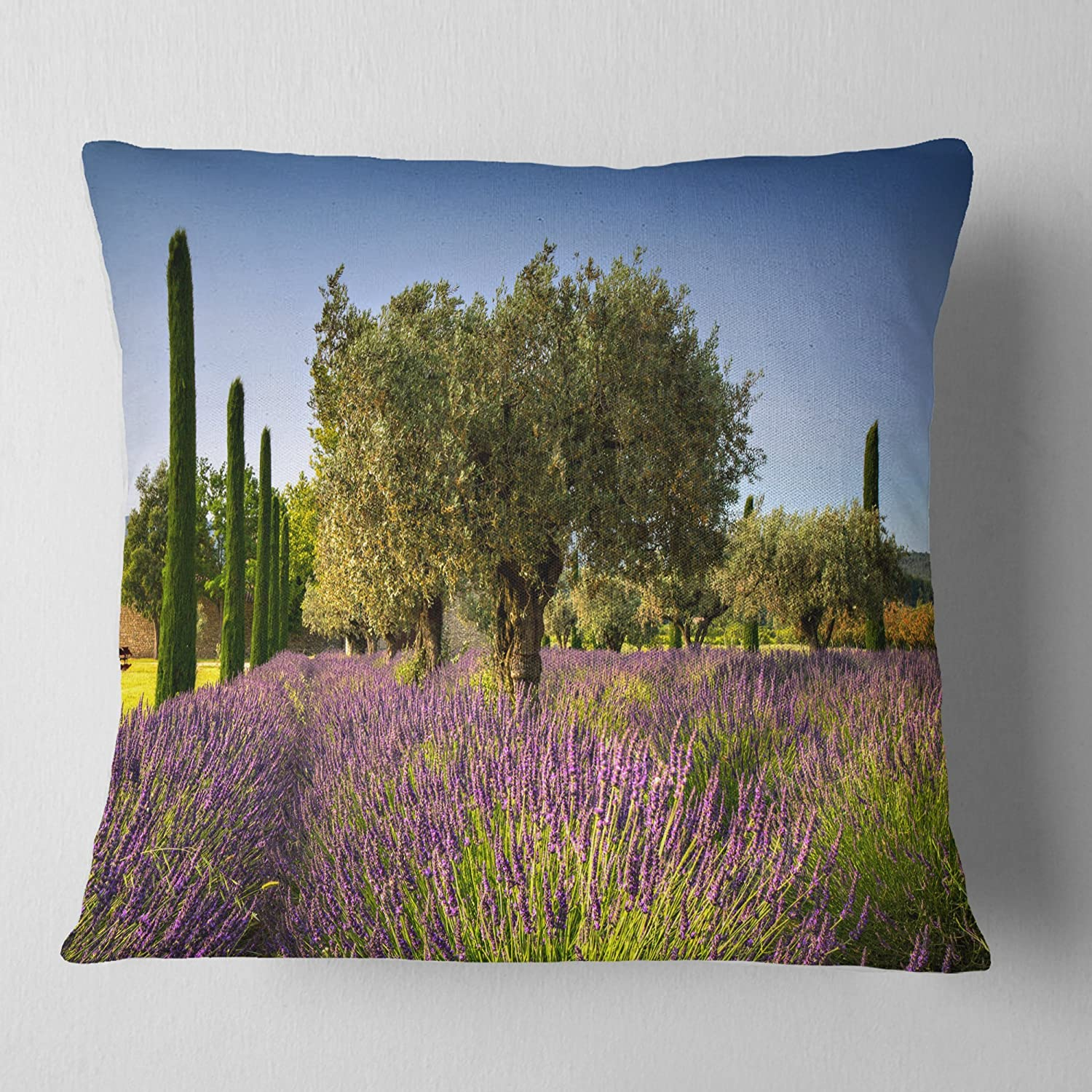 Designart CU12362-16-16 Beautiful Lavender and Olive Trees' Flower Cushion Cover for Living Room, Sofa Throw Pillow 16 in. x 16 in. in, Insert Printed On Both Side
