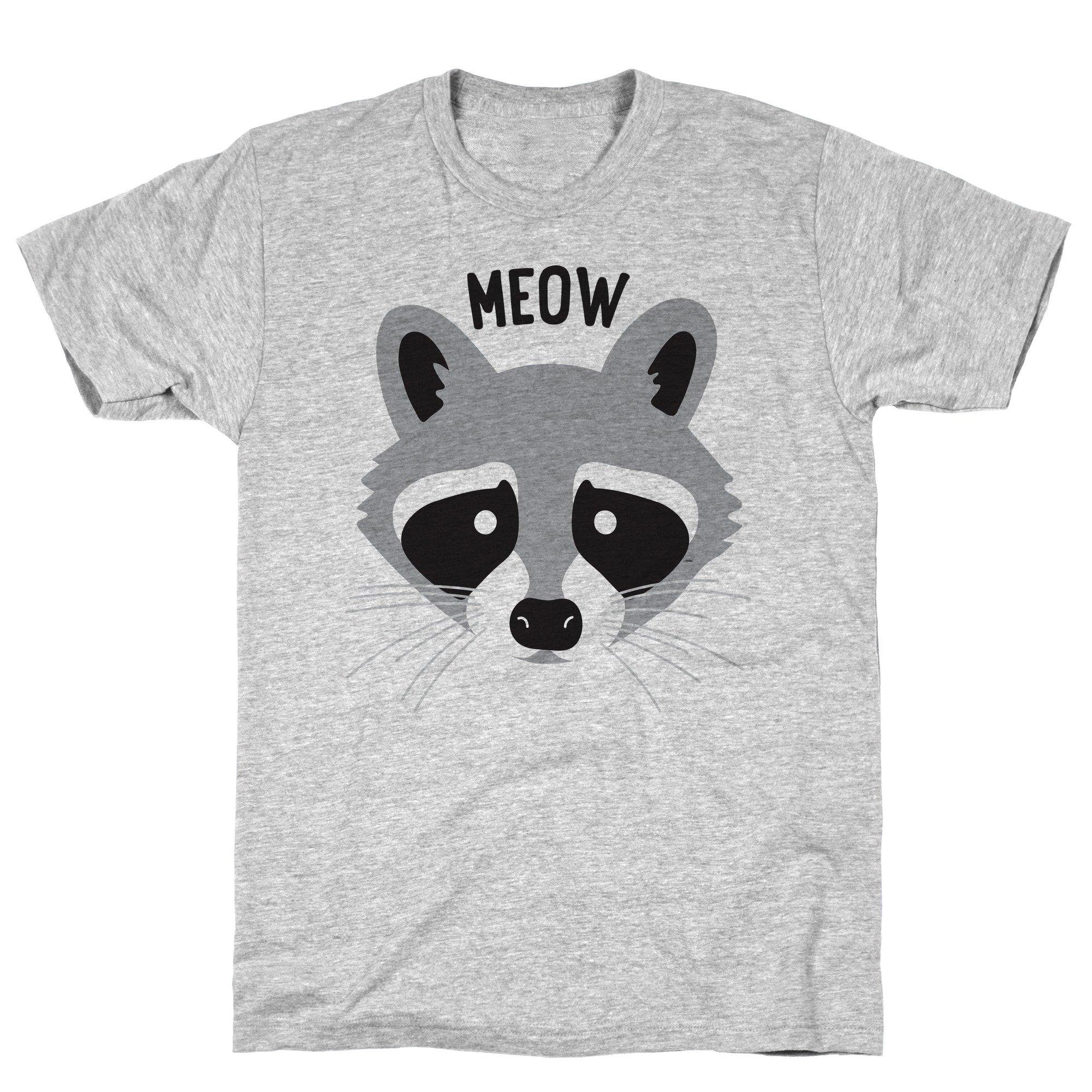 Meow Raccoon Athletic Gray S Ts Shirts