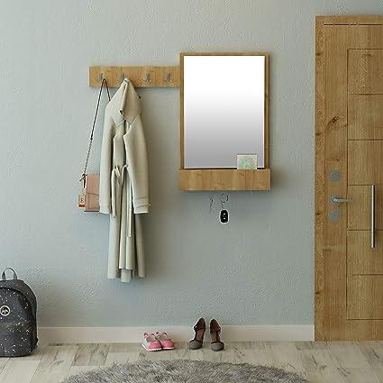 Mueble de Entrada semimóvil con 9 Ganchos, 1 Espejo y 1 ...
