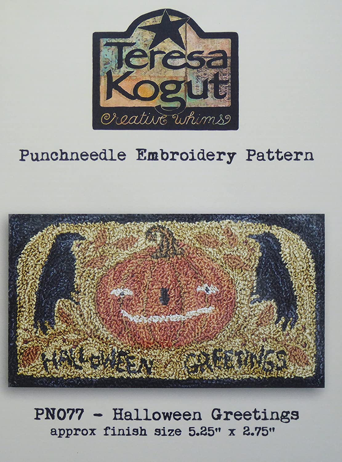 Halloween Greetings Crow Pumpkin PN077 Punchneedle Punch Needle Embroidery Teresa Kogut Pattern