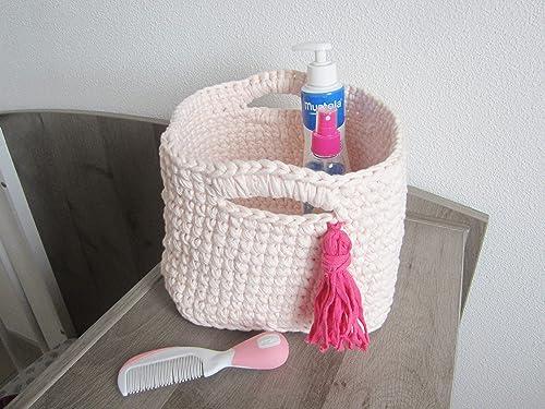 Panier rangements chambre bébé fille, panier au crochet rose ...