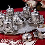 HIGH END Silver plated METAL Coffee Set for Turkish, Arabic, Greek and Espresso coffee for 6 - Made in Turkey - 27 pieced set with Bowl, Silver