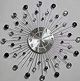 "Diamond Crystal black & white Decorative Wall Clock 19"""