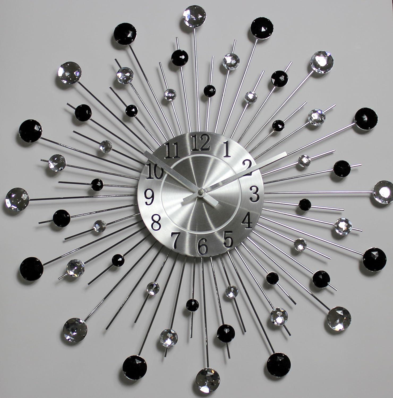 Diamond crystal black white decorative wall clock 19 amazon diamond crystal black white decorative wall clock 19 amazon kitchen home amipublicfo Choice Image