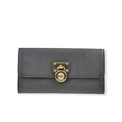 85bb9ef352b49 MICHAEL-KORS Damen Geldbörse Portemonnaie Geldbeutel mit Überschlag LG FLAP  WALLET Saffiano Leder schwarz
