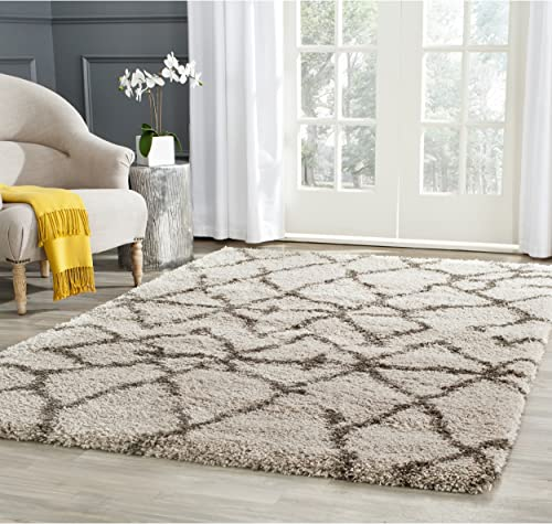 Safavieh Belize Shag Collection SGB482D Taupe and Grey Area Rug 8 x 10