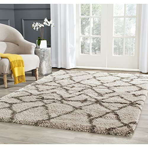 Safavieh Belize Shag Collection SGB482D Taupe and Grey Area Rug 4 x 6