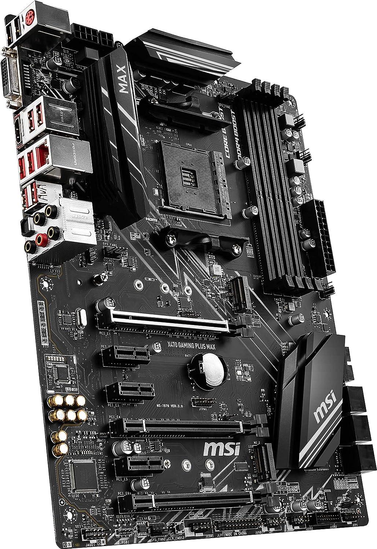 Placa Base 4 PCI-E Gen3, Audio Boost, Conectores Pin 8+4, Mystic Light RGB MSI Gaming Plus MAX X470