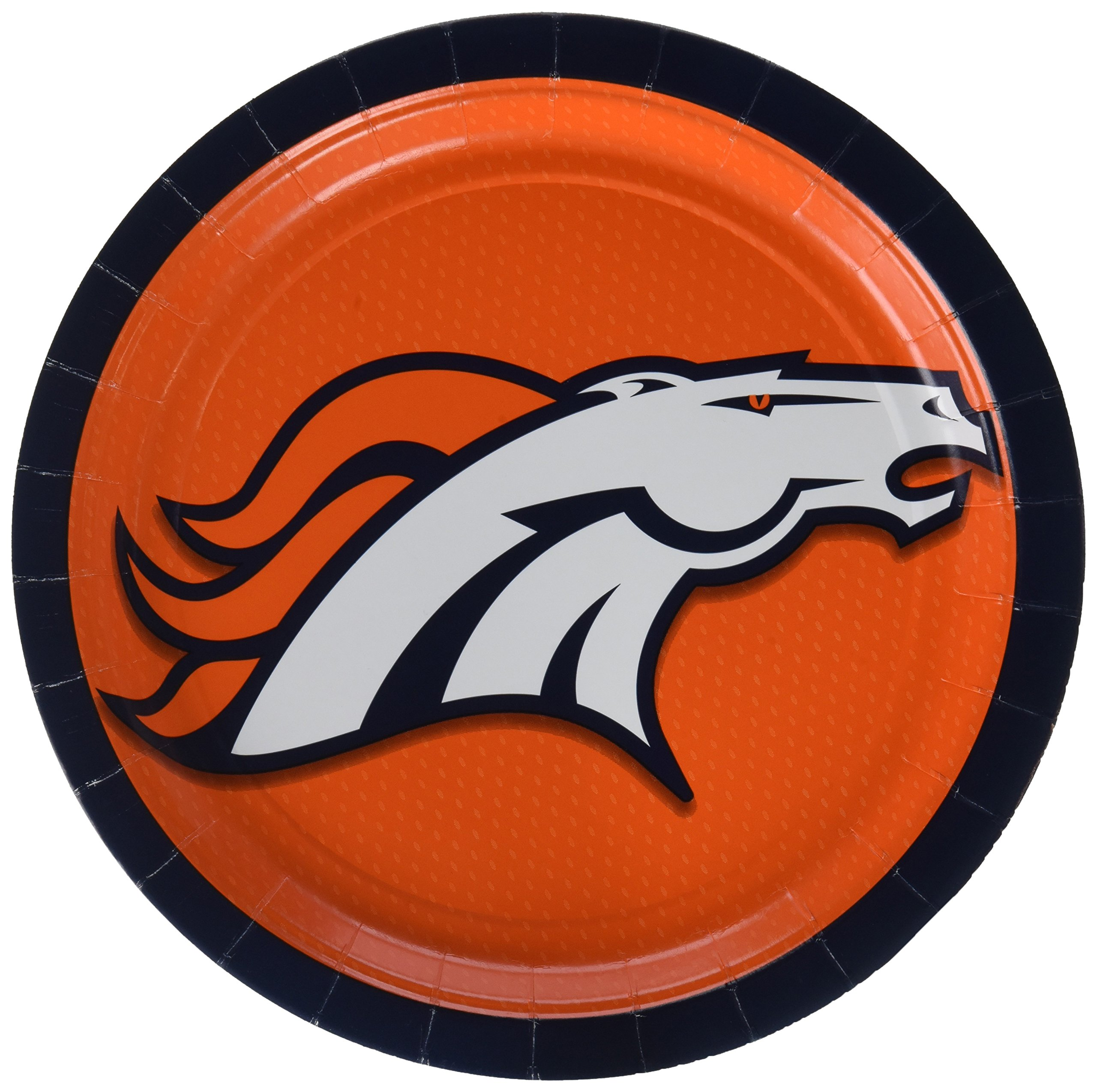 Amscan Denver Broncos Collection 9'' Round, Party Plates, 48 Ct.