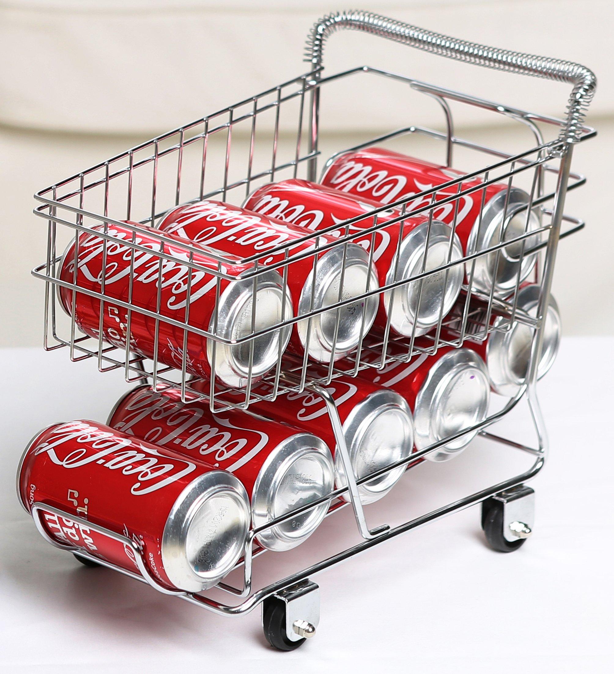 Miniature Shopping Cart Design Can Beverage Storage Rack Holder, Silver
