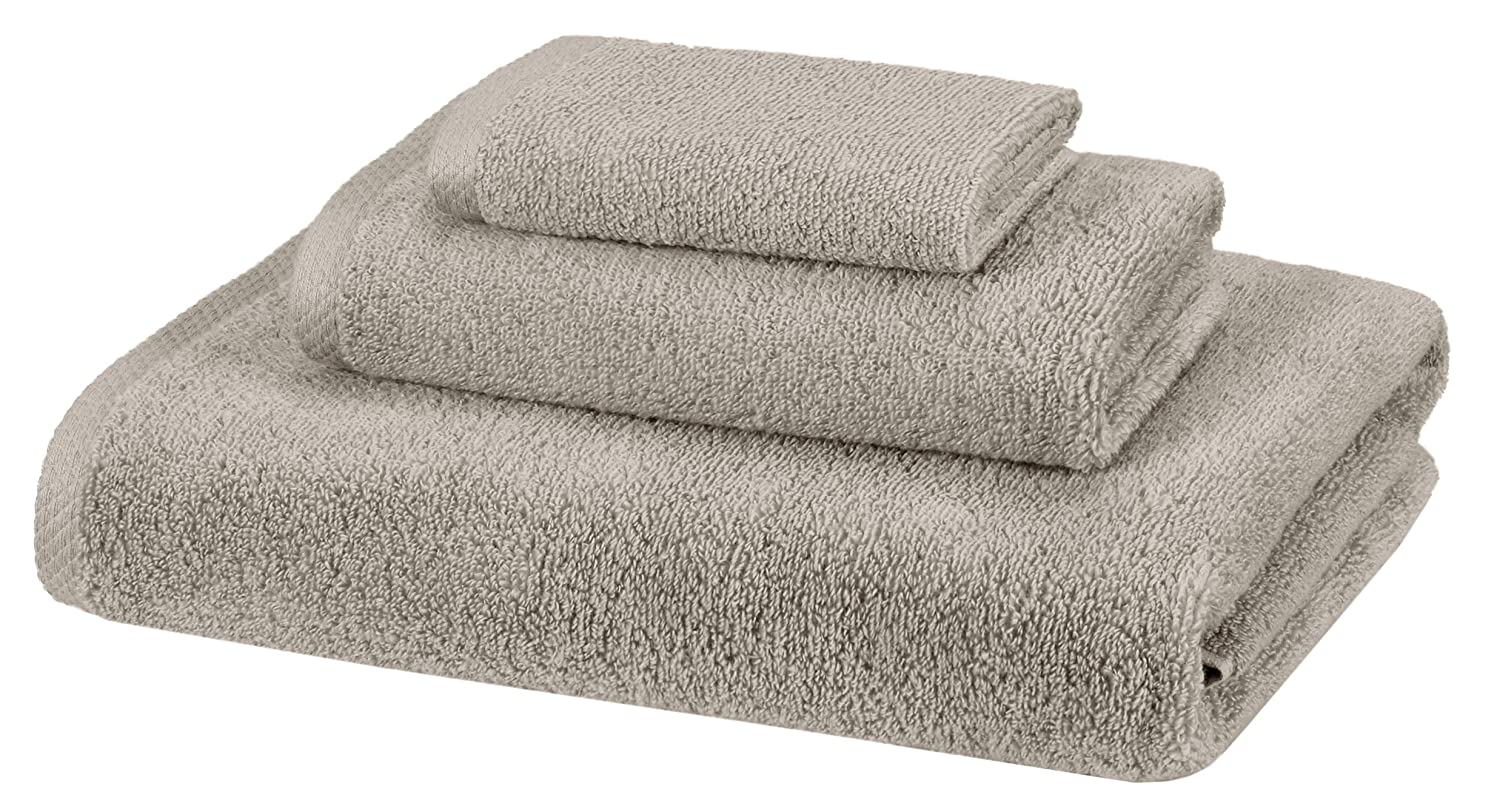 AmazonBasics 3 Piece Cotton Quick-Dry Bath Towel Set - Platinum